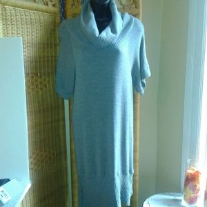 Poof women's gray neck sweater dress size large
